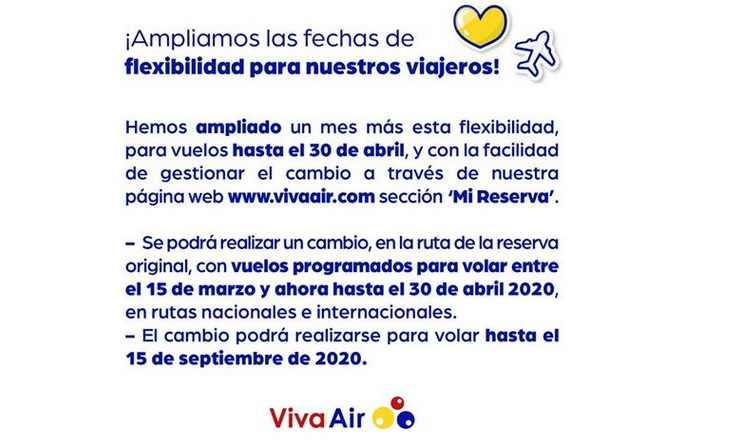 cambio fecha pasajes aereos viva air